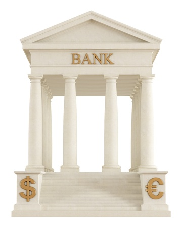 Isolated stone bank building with tuscany  columns - rendering photo