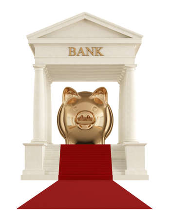 Isolated stone bank building with golden piggy on red carpet - rendering photo