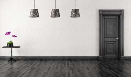 empty vintage room with black  classic door- rendering Stock Photo - 16186141