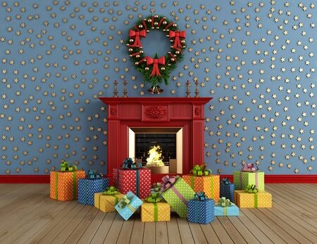 empty vintage room with red classic fireplace and colorful gift - rendering photo