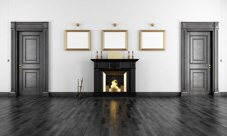 Classic black fireplace in a vintage livingroom with two wooden doors - rendering photo