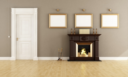 fireplace home: Classic brown fireplace in a vintage livingroom with wooden  doors - rendering