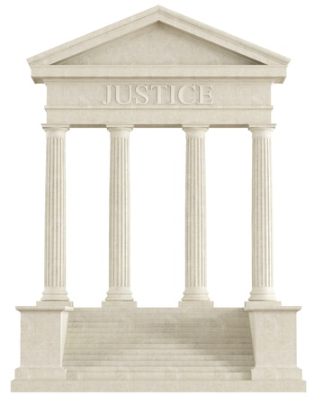 Concept of justice - front view of a stone temple isolated on white - rendering photo