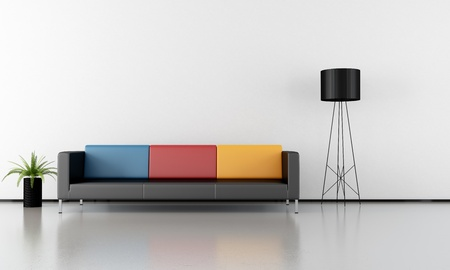livingroom minimal: Contemporary livingroom with colorful couch and concrete floor - rendering