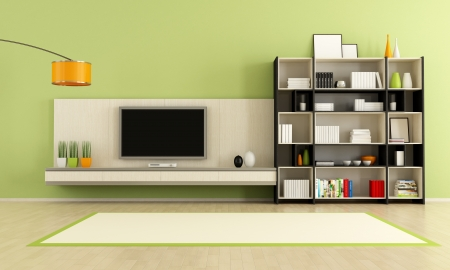 livingroom: green  living room with tv stand and bookcase - rendering