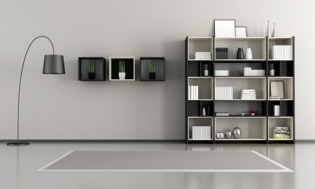livingroom: minimalist empty livingroom with wooden bookcase - rendering