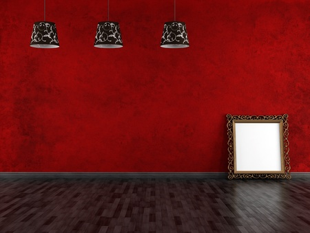 red and black  empty vintage room with golden frame - rendering photo