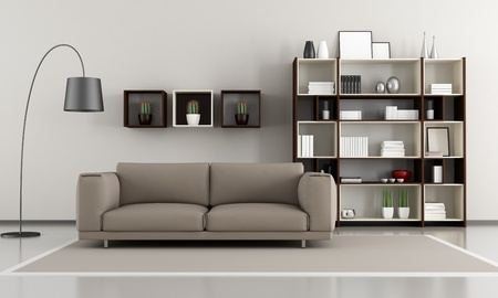 Contemporary livingroom sofa and bookcase - rendering photo
