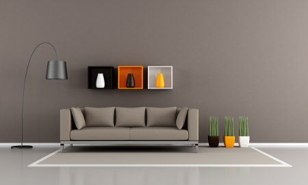 livingrooms: Contemporary livingroom with brown couch - rendering Stock Photo