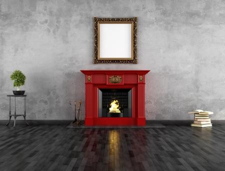 ohniště: vintage pokoj s červeným klasickým krbem - vykreslování Reklamní fotografie