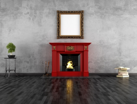 fireside: vintage room with red classic fireplace - rendering