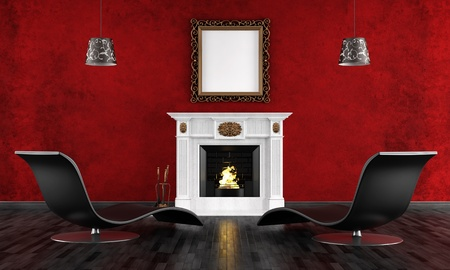 stucco: black and red vintage room with classic fireplace and contemporari armchair - rendering Stock Photo