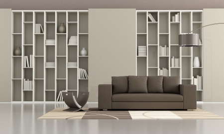 Bookcase With Sliding Doors And Brown Sofa In A Minimalist Living Room Photo