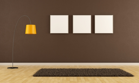 Empty brown living room with carpet,frame and floor lamp -   rendering photo
