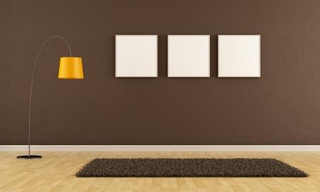 Vider brown living room avec de la moquette, le cadre et lampadaire - rendu