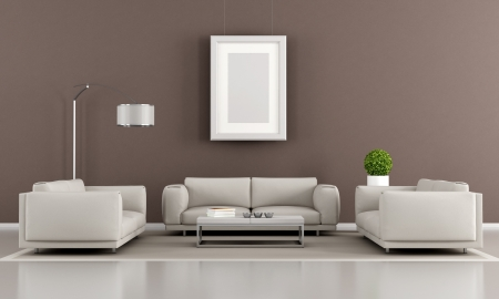 Contemporary livingroom with two armchair and sofa - rendering Stock Photo