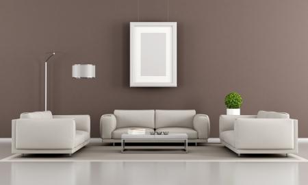 divano: Soggiorno moderna con due poltrone e divano - rendering