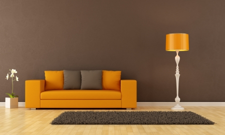 Brown living room with orange couch - rendering photo