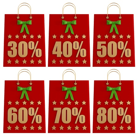 Set of Christmas  Shopping Bag isolated on white - rendering Stock Photo - 16852782
