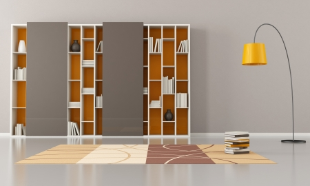 empty living room with bookcase with sliding doors - rendering Stock Photo - 16852779