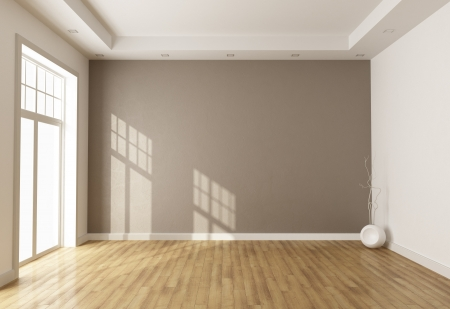 vase plaster: empty brown room with window and parquet - rendering Stock Photo