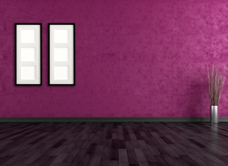 empty room with black parquet and purple wall - rendering Stock Photo - 17331656