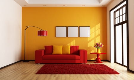 Modern red and orange living room - rendering Stock Photo