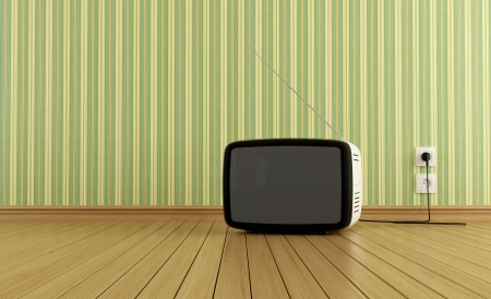 tv room: Retro tv on parquet in a empty  room