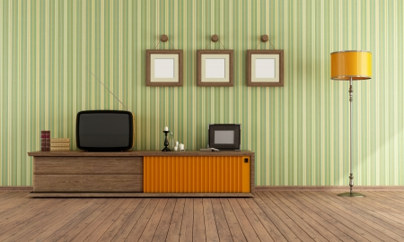 vintage living room: Vintage living room with retro  TV - rendering