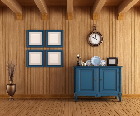 Wooden interior of a country house with vintage dresser - rendering photo