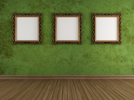 Empty vintage room with grunge wall and golden frames - rendering - Stock Photo - 17478385