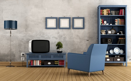 Blue vintage interior with  bookcase armchair  and old television - rendering photo