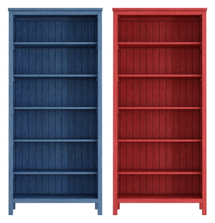 Bookcase: Red and blue old wooden bookcase isolated on white - rendering