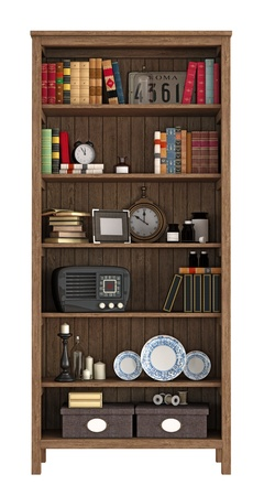 Vintage bookcase with books and objects isolated on white - rendering