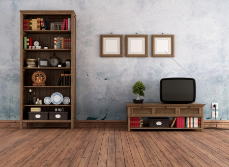 Vintage interior with wooden  bookcase and old television - rendering