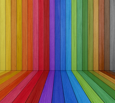 painted wood: Empty  Multi colored Wooden Room - rendering Stock Photo