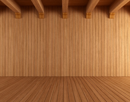wooden beams: Empty wooden room with ceiling beams - rendering Stock Photo