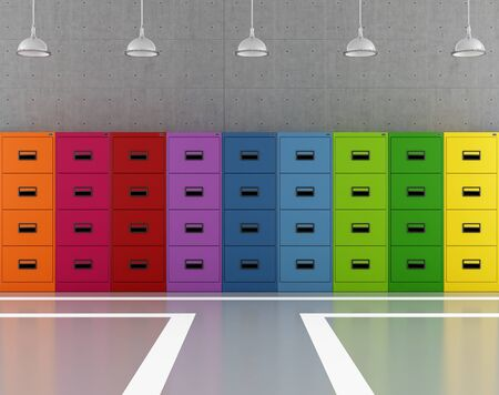 Modern archive modern with colorful filing cabinets - rendering Stock Photo