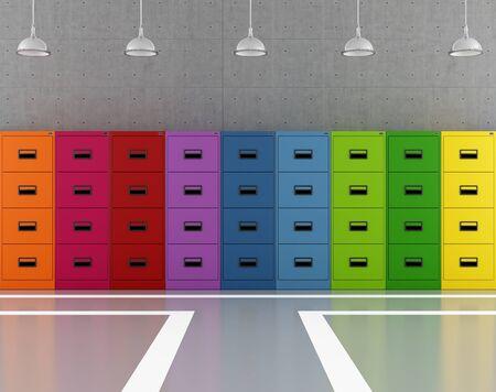 Moderna archivio moderno con armadi colorati - rendering Archivio Fotografico