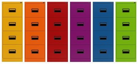 filing cabinet: Colorful Filing cabinet isolated on white - rendering