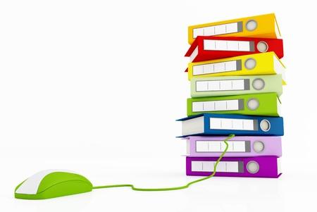 Stapel von Ringbuch und grüne Maus konzeptuelle Bild für viele Anwendungen - Rendering
