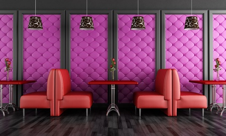 purple rose: Red and purple fashion cafe-bar - rendering Stock Photo