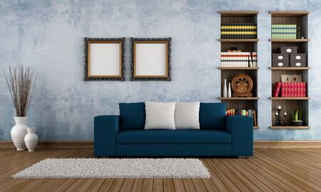 Modern sofa in a vintage living room - rendering Stock Photo - 17671072