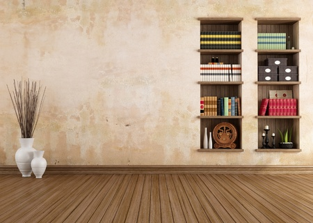Empty vintage room with bookshelves - rendering