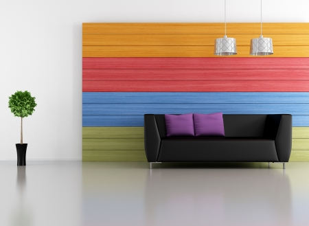 black couch in a minimalist living room with colorful wooden  panel - rendering photo