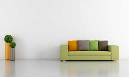 White Living room with colorful modern couch - rendering photo