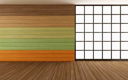 empty wooden room with colorful panel and window - rendering photo