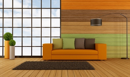 Modern living room wih colorful wooden panel and big window - rendering photo
