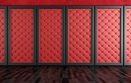 empty room with red leather upholstered panels - rendering Stock Photo - 17671068