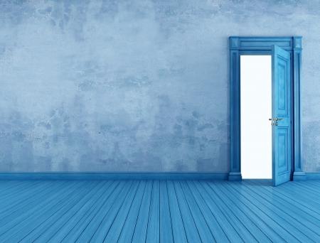 puertas abiertas: Local vintage azul con la puerta abierta viejo - la prestaci�n